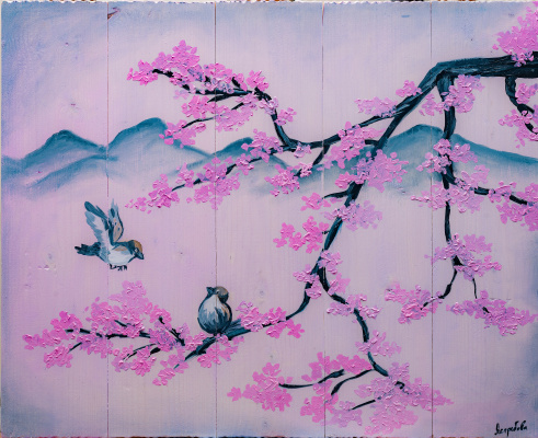 Arina Yuryevna Yastrebova. Sakura, sparrows and mountains