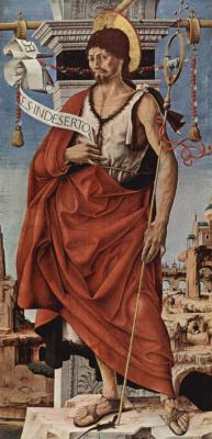Франческо дель Косса. Алтарь Гриффони, Капелла Гриффони в церкви Сан Петронио в Болонье, правая створка: Иоанн Креститель