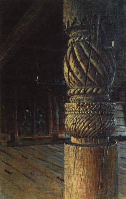 Vasily Vasilyevich Vereshchagin. A carved pillar in the refectory of St. Peter and Paul Church in the village Muchugi Vologda province. Etude