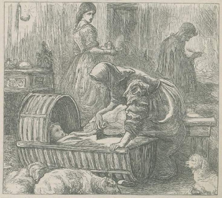 """Джон Эверетт Милле. На кухне фермера Челла. Иллюстрация для журнала """"Раз в неделю"""""""