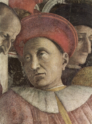 Andrea Mantegna. The courtyard of the Gonzaga, a fragment of Duke Ludovico Gonzaga. Camera degli Sposi