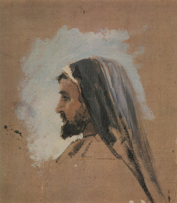 """Vasily Dmitrievich Polenov. K. A. Korovin. Sketch of head of Christ for the painting """"On the sea of Galilee (Genisaretsky) lake"""""""