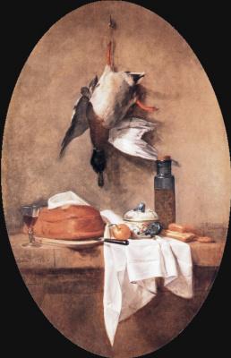 Жан Батист Симеон Шарден. Натюрморт утка и оливковое масло