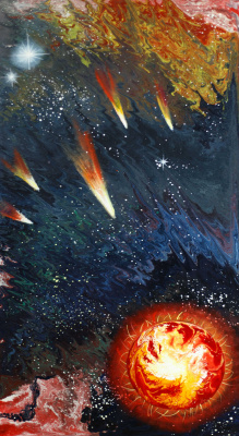"Alla Struchayeva. The painting ""The attraction of the fire planet"""