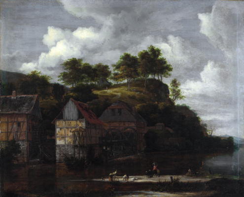 Jakob van Isaacs Ruisdael. Three watermills and laundresses