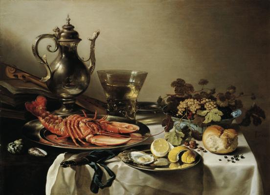 Питер Клас. Натюрморт с лобстером, кувшином, скрипкой, лимоном и ягодами