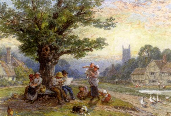 Фигуры детей под деревом возле деревни