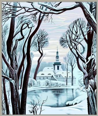 "Konstantin Avdeev. Winter in Saxony. Monastery ""Mariental"""