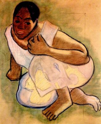 Paul Gauguin. Crouching Tahitian girl