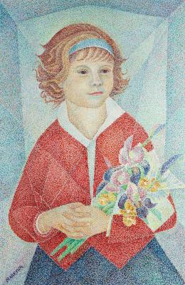Maria Bronislavovna Marevna (Vorobyeva-Stebelskaya). Girl with a bouquet.1967