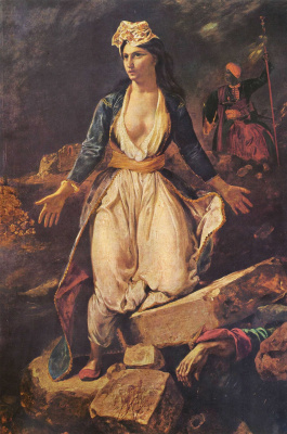 Eugene Delacroix. Greece on the ruins of Missolonghi