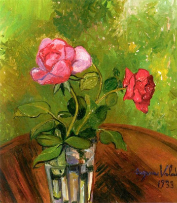 Suzanne Valadon. Two roses in a glass