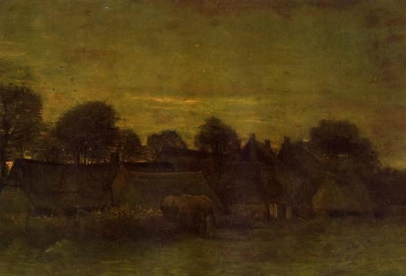 Vincent van Gogh. The village at sunset