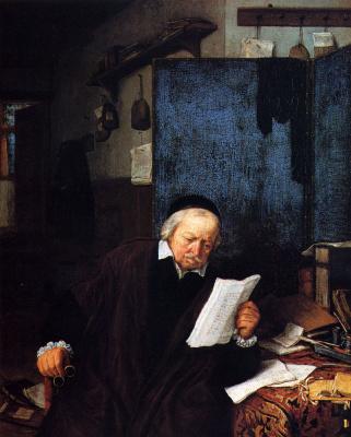 Адриан ван Остаде. Адвокат в своем кабинете
