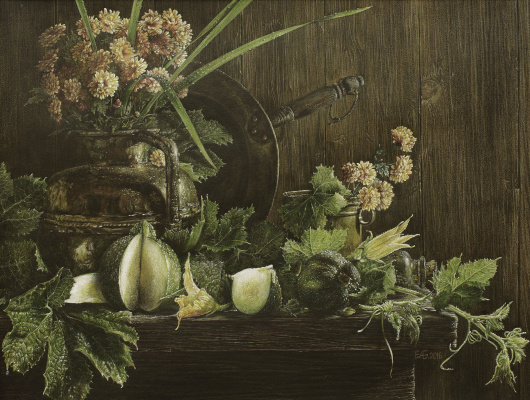 Eugene Borovik. Still life with courgettes and chrysanthemums