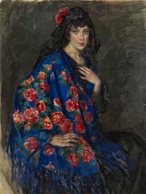 Елена Андреевна Киселева. Портрет неизвестной в шали. 1910