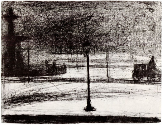 Georges Seurat. Concorde in the dark in the snow