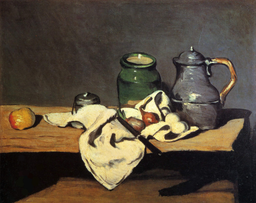 Paul Cezanne. Still life with green container and tin pot