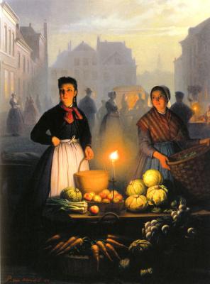 Петрус ван Шендел. Рыночные прилавки в лунном свете