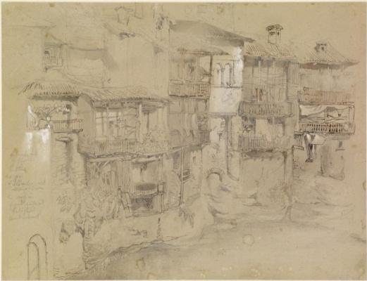 John Ruskin. Street in an italian village