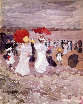 Maurice Braziel Prendergast. Ladies with parasols