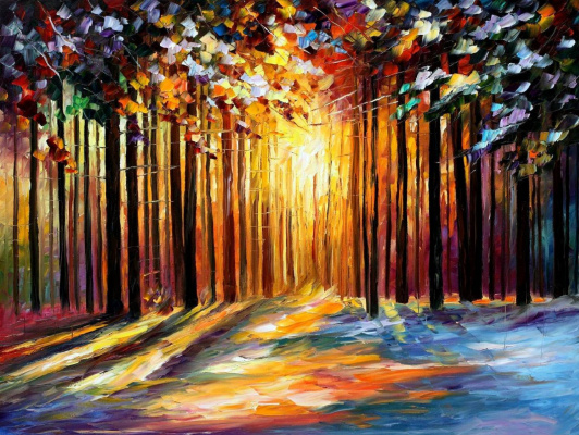 Leonid Afremov. The sun in January
