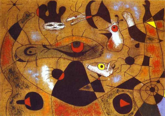 Joan Miro. A drop of dew falling from the wing of a bird, bodett Rosalie asleep in the shade web