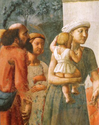 Tommaso Masaccio. Brancacci Chapel. Distribution of alms and death of Ananias. Fragment
