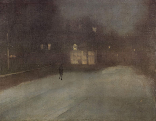 James Abbot McNeill Whistler. Nocturne in gray and gold: snow in Chelsea