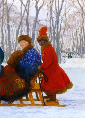 Evgeniy Evgenievich Lansere. Departure of Empress Elizabeth Petrovna