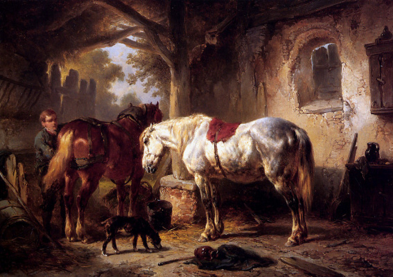 Две лошади и собака