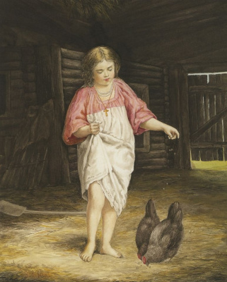 Kirill (Karl) Vikentievich Lemoh. Girl feeding chickens