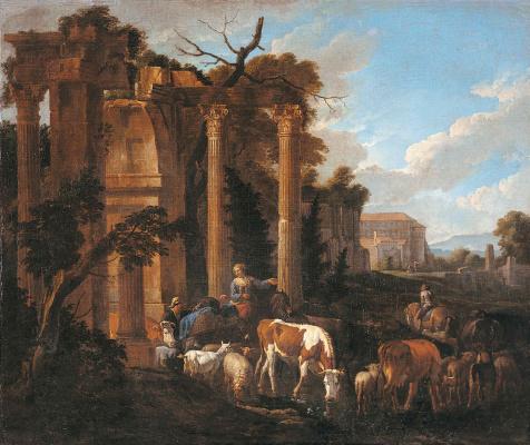 Питер ван Блумен. Водопой возле античных руин