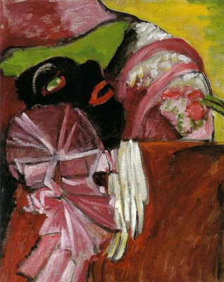 Gabriele Münter. Black mask on the pink background