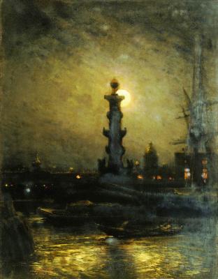 Алексей Петрович Боголюбов. Биржа ночью. Петербург. 1878