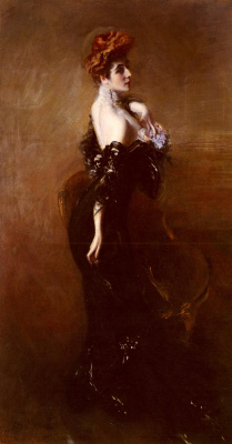 Giovanni Boldini. Portrait of Madame Page in an evening dress