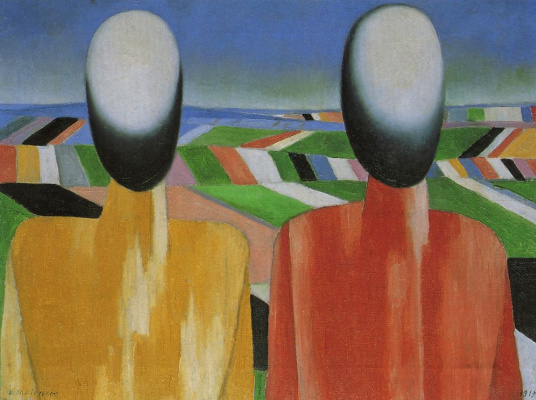 Kazimir Malevich. Two peasants on the fields