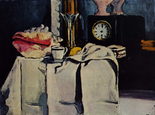 Paul Cezanne. Still life with a clock of black marble