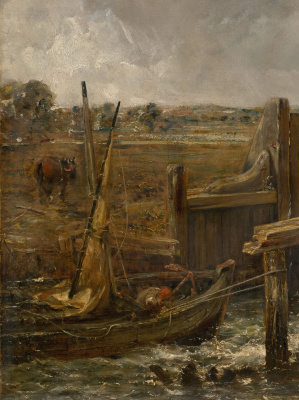 John Constable. Boat passing dam. Sketch. Fragment