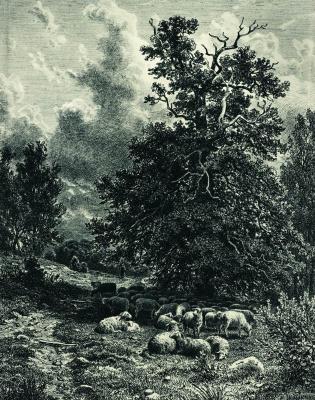 Ivan Ivanovich Shishkin. A flock of sheep in the woods