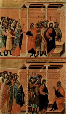 Дуччо ди Буонинсенья. Маэста, алтарь сиенского кафедрального собора, оборотная сторона, Регистр со сценами Страстей Христовых: Обвинение Христа фарисе