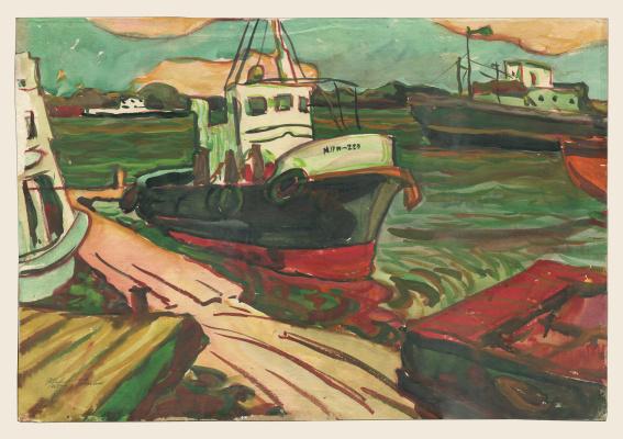 Alexandrovich Rudolf Pavlov. Series of watercolors Astrakhan, 2. Boat.