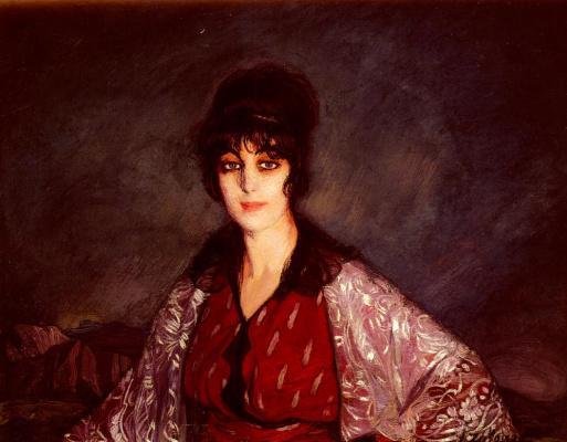Ignacio Suloaga. Portrait of Lola in dress with white flowers