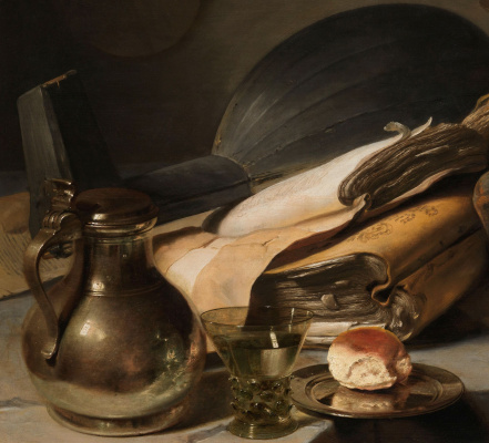 Jan Livens. Still life with books. Fragment. Jug, a Roemer and lute