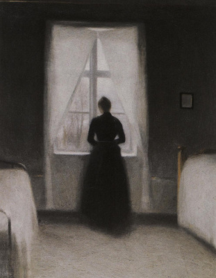 Vilhelm Hammershøi. Bedroom. Interior with a woman by the window