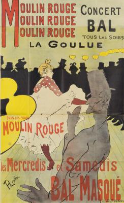 """Henri de Toulouse-Lautrec. Poster """"La goulue at the Moulin Rouge"""""""