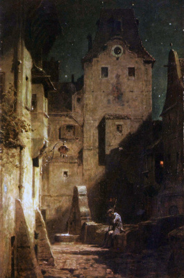 Karl Spitzweg. The drowsy night watchman