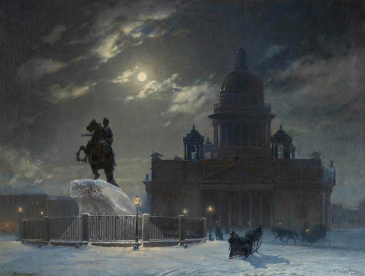 Vasily Ivanovich Surikov. View of the monument to Peter I on the Senate square in St. Petersburg