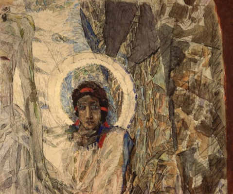 """Mikhail Vrubel. The head of the angel. A fragment of """"the Resurrection"""" for painting of the Vladimir Cathedral in Kiev"""