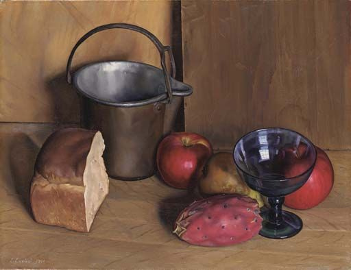 Luigi Lucioni. Bread and fruit